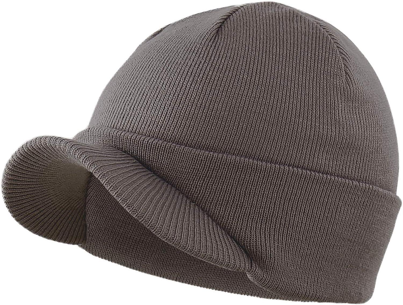 Home Prefer Men's Winter Beanie Hat with Brim Warm Double Knit Cuff Beanie Cap