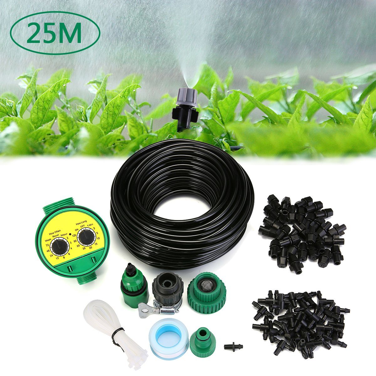 AgSivo Micro Flow Drip Watering Irrigation Adjustable Misting Kits System Self Plant Garden Hose Automatic Watering Kits