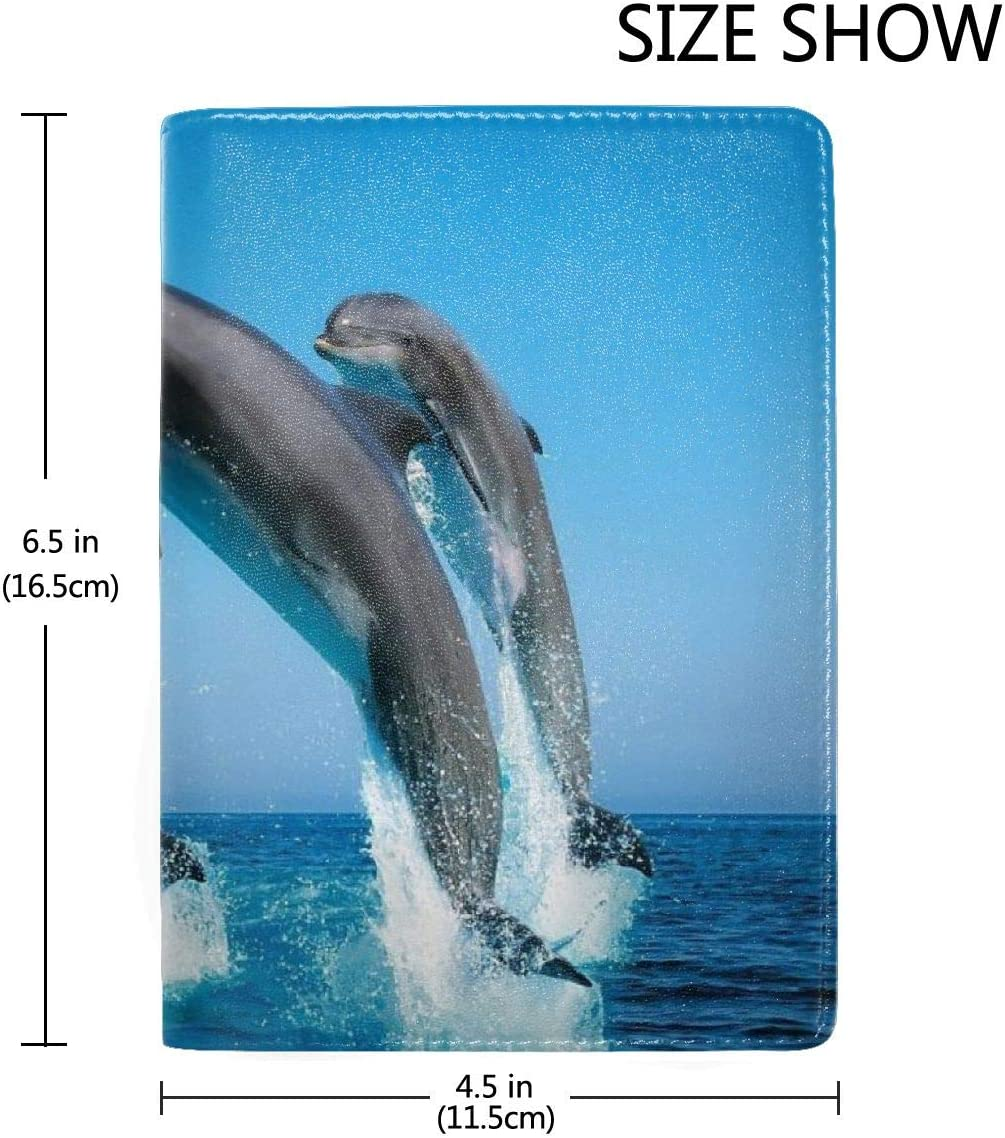 Dolphin Jump High Fashion Leather Passport Holder Cover Case Travel Wallet 6.5 In