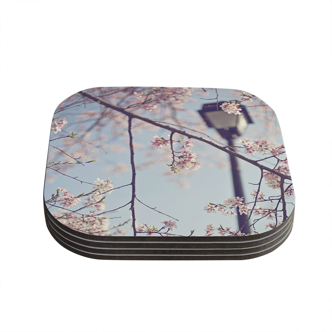 Set of 4 Kess InHouse Catherine McDonaldWalk with Me Cherry Blossom Coasters Blue//Pink 4 by 4-Inch