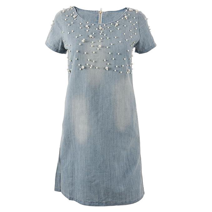 SODIAL Vestido de Mezclilla Vestido Vaquero de Manga Corta Suelta Vestidos Elegantes Suelta Lavada con Cuentas