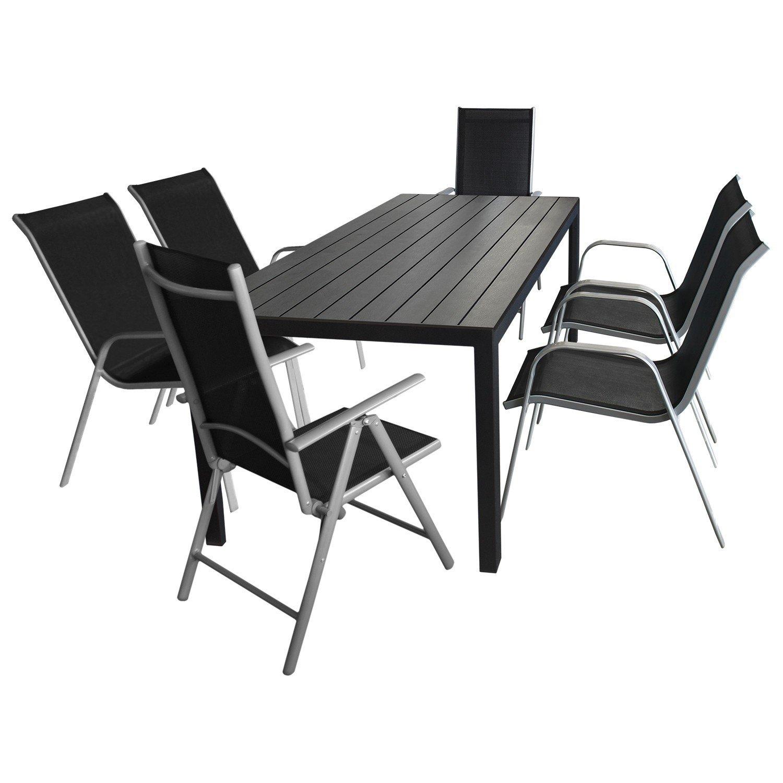 7tlg. Gartengarnitur Terrassenmöbel Gartenmöbel Set Sitzgarnitur Sitzgruppe - Tisch, Polywood Tischplatte, 205x90cm + 4x Gartenstuhl, stapelbar, Textilenbespannung + 2x Hochlehner, klappbar, 7-fach verstellbar