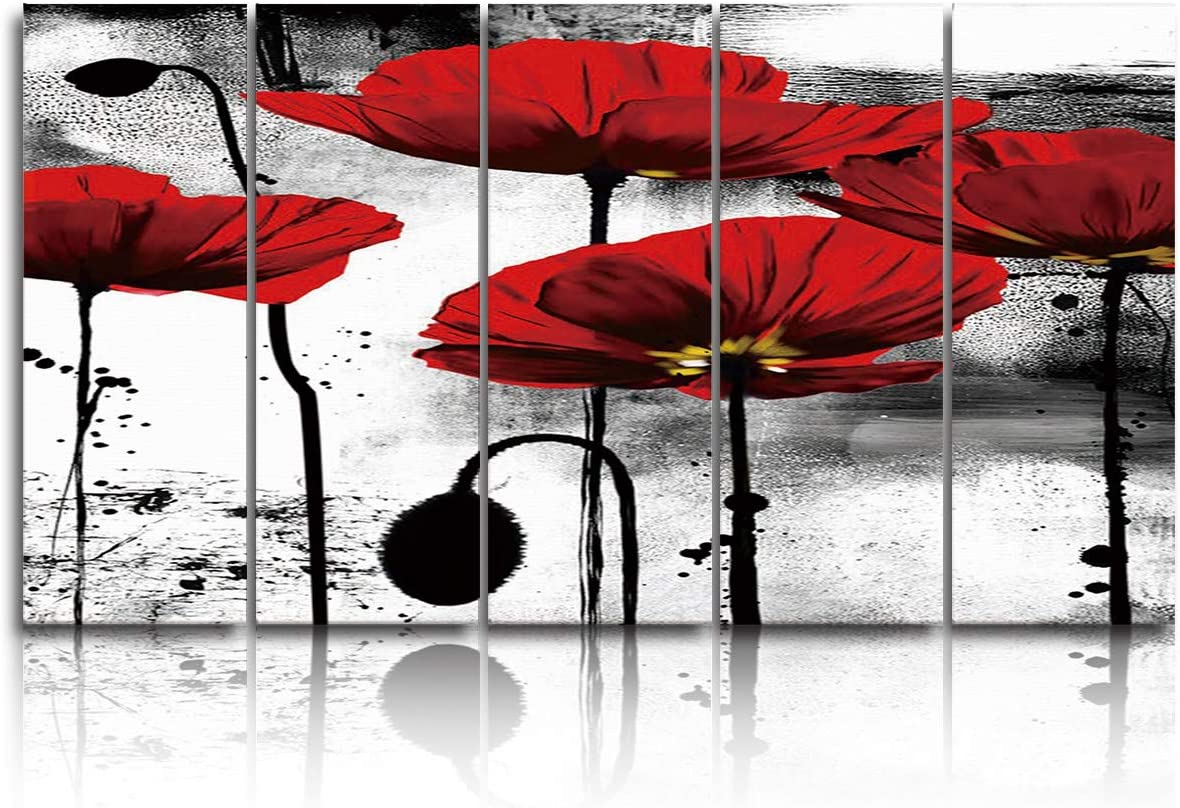 EZON-CH 5 Panels Canvas Wall Art Prints - Red Poppy Flower Ink Painting- Extra Large Artwork Ready to Hang for Living Room Bedroom Office Home Decoration - 16x40 inchx5