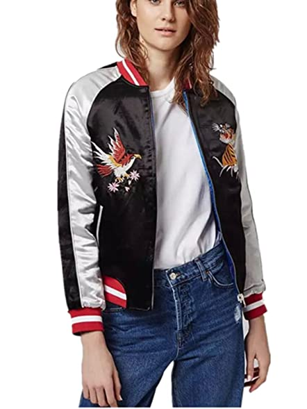 Ecollection® Women Vintage Bomber Jacket Tiger Eagle Embroidery ...
