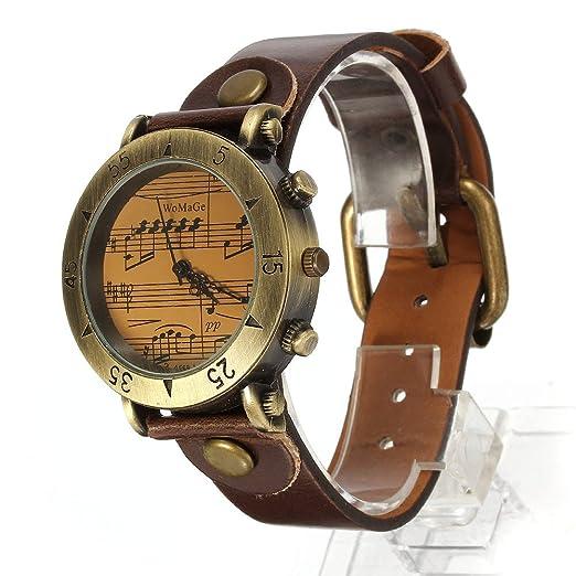 Reloj Analogico Cuarzo Vintage Pulsera Correa PU Marrón para Mujer Hombre: Amazon.es: Relojes