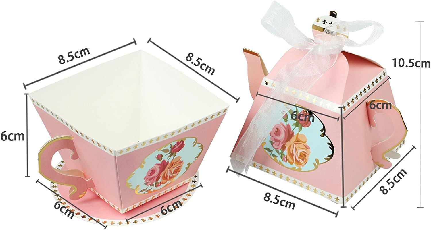 Vlovelife 10pcs Blue Teapot /& 10pcs Cup Shape Party Favor Candy Boxes With Ribbon Tea Time Whimsy Collection Creative Paper Candies Gift Boxes
