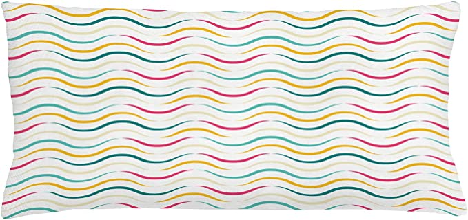 Amazon Com Lunarable Abstract Throw Pillow Cushion Cover Waves Vibrant Colors Curve Lines Minimalist Continuous Ornament Decorative Rectangle Accent Pillow Case 36 X 16 Magenta Teal Mustard Home Kitchen