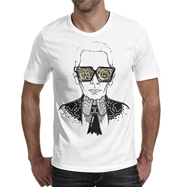 19542779 Men's Funny Chanel-Cool-Karl-Lagerfeld-Short T-Shirt Outdoor Tee Running  Vintage | Amazon.com
