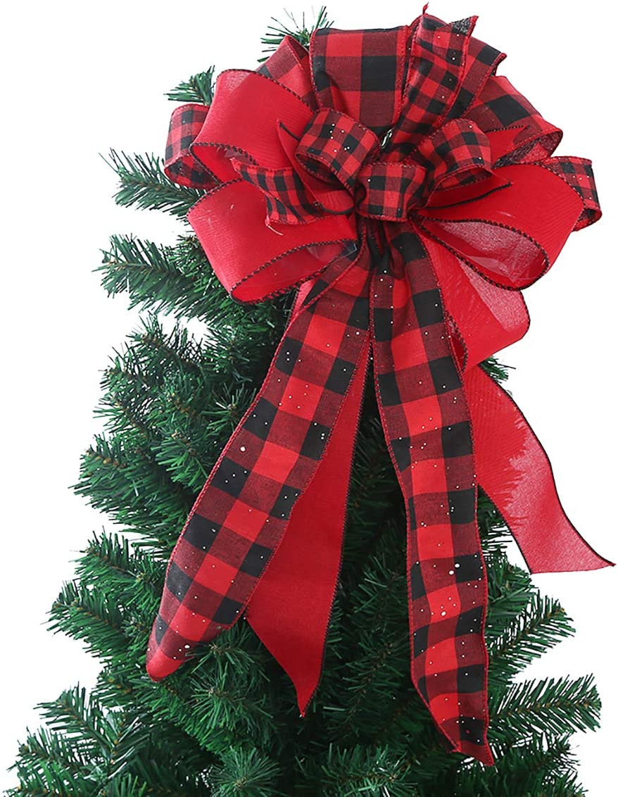 Lantern Bow Farmhouse Bow Tree Topper Caroline Buffalo Check Bow Ribbon Topper Small Bow Long Streamer Bow Christmas Tree Bow