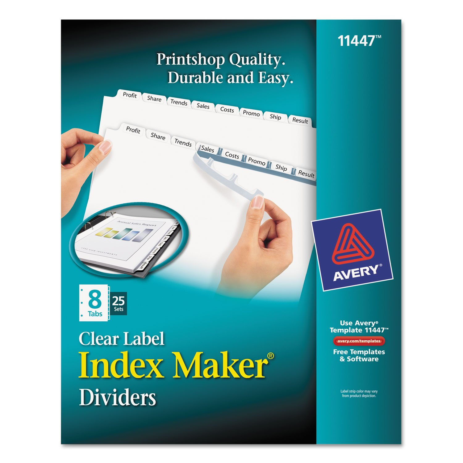 Avery 11447 Index Maker, Laser, Punched, 8-Tabs, 25 ST/BX,8-1/2'x11',CL 8-1/2x11 AVERY-DENNISON-KNM