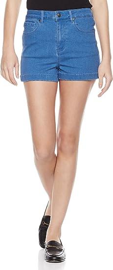 Lily Parker Womens Classic Stretchy Mid Rise Folded Hem Denim Shorts