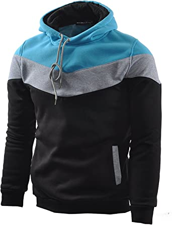 Mens Pullover Fleece Hoodie Block Color Cozy Sport Outwear