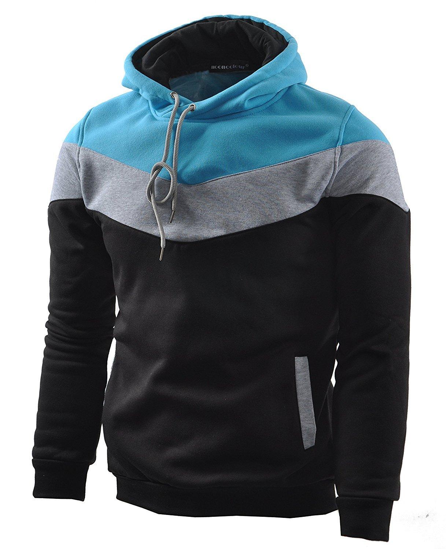 Mooncolour Men's Novelty Color Block Hoodies Cozy Sport Autumn Outwear  Black/Grey/Blue  M Black US Medium by Mooncolour