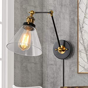LNC Swing Arm Wall Sconce Plug in or Hardwire Lamp for Bedroom, Desk, Office, Clear Glass