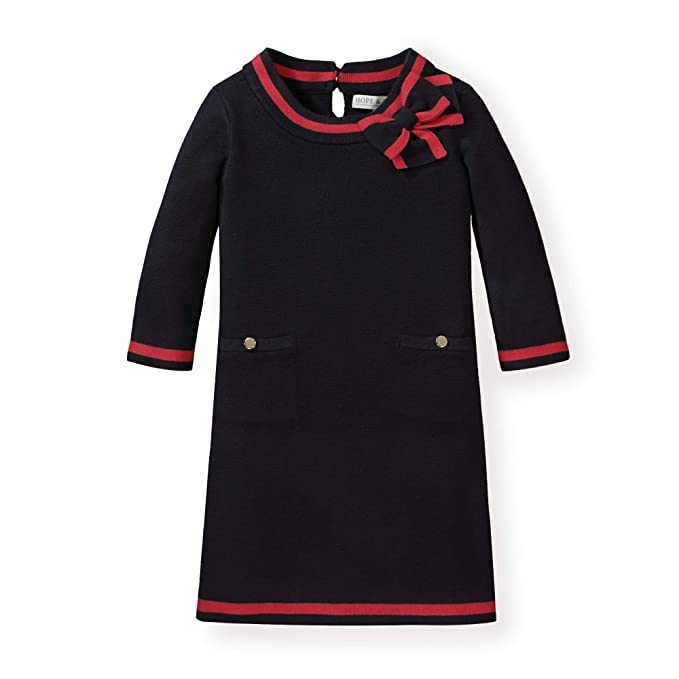 60s 70s Kids Costumes & Clothing Girls & Boys Hope & Henry Girls Milano Tipped Sweater Dress $26.95 AT vintagedancer.com