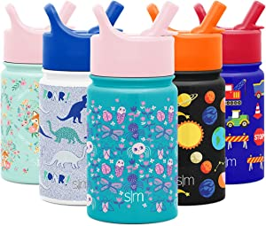 Simple Modern 10oz Summit Kids Water Bottle Thermos with Straw Lid - Dishwasher Safe Vacuum Insulated Double Wall Tumbler Travel Cup 18/8 Stainless Steel Ladybug Garden