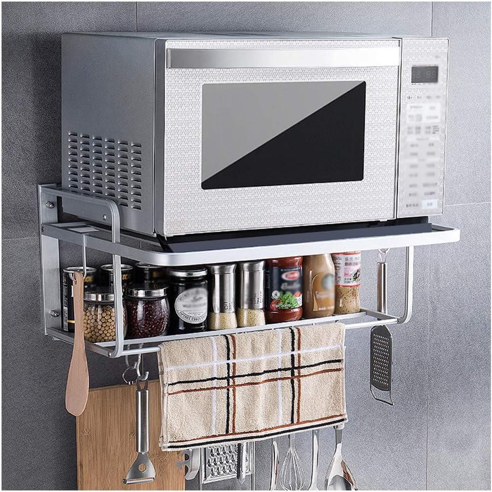 ABBD - Estante de Cocina, Estante para Horno, microondas, multifunción, Montaje en Pared, vajilla de ordenación, Doble Soporte con 10 Ganchos extraíbles: Amazon.es: Hogar