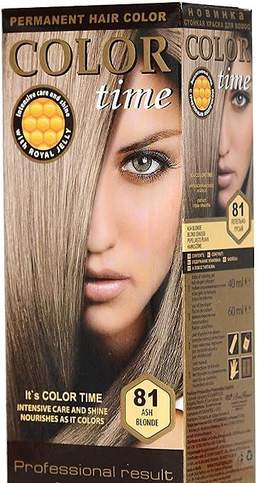Color time, tinte permanente para el cabello de color rubio cenizo 81