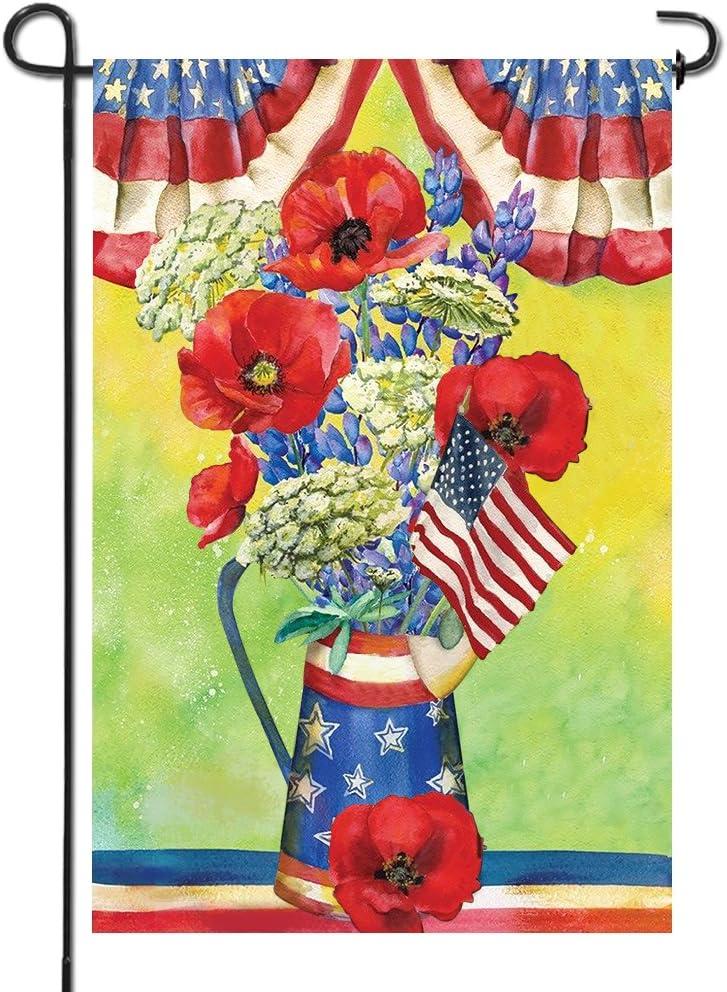 Anley Bandera de Jardín Premium de Doble Cara 4 de Julio Flores Amapolas Verano EE. UU. Bandera Americana Decorativa de Jardín - Resistente al Clima y Doble Costura - 45 x 30 cm: Amazon.es: Jardín