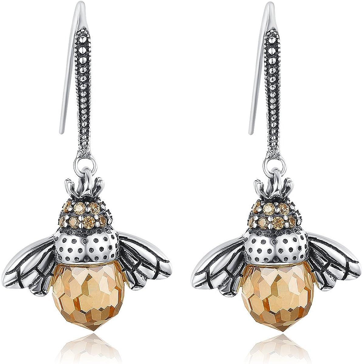 GOXO Sterling Silver Queen Honey Bee Little Bumblebee Pendant Necklace, Honeybee Bracelet