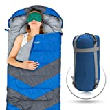 Sleeping Bag - Envelope Lightweight Portable, Waterproof, Comfort With Compression Sack, - Great For 4 Season Traveling, Camping, Hiking, & Outdoor Activities. (SINGLE)