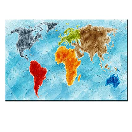 Amazoncom DINGDONGART Colorful World Map Canvas Wall Art World - Colorful world map painting