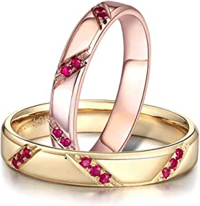 Aokarry Wedding Rings Sets for Him and Her, 18K Rose Gold and Yellow Gold Geometry Shape with Ruby Promise Engagement Rings Ruby