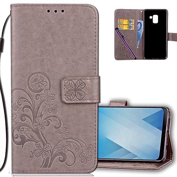 best website 6de3d 524f3 Amazon.com: Samsung A8 2018 Wallet Case Leather COTDINFORCA Premium ...