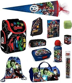 Avengers Schulranzen Set 15tlg Scooli Dose//Flasche Sporttasche blau HULK THOR