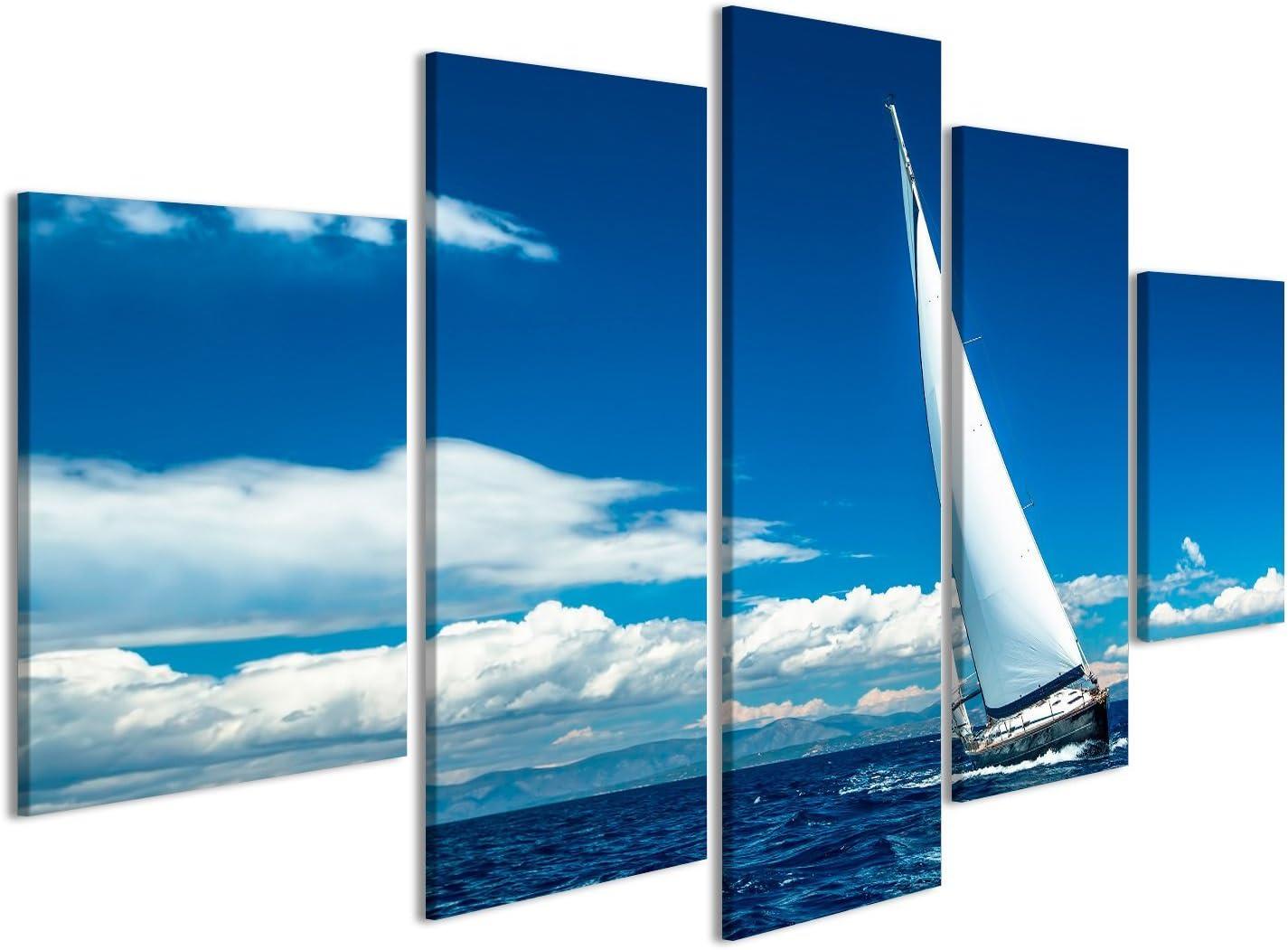 islandburner Cuadro Cuadros Navegación. Nave de Yates con Velas Blancas en mar Abierto. Barcos de Lujo. sobre Lienzo Formato Grande Listo para Colgar ...
