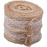 5M Natural Jute Burlap Hessian Ribbon with Lace Trims Tape Rustic Wedding Decor by gzzhongheng