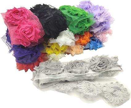 "1//2 yard navy blue 2.5/"" shabby chiffon rose trim flowers DIY baby headband"
