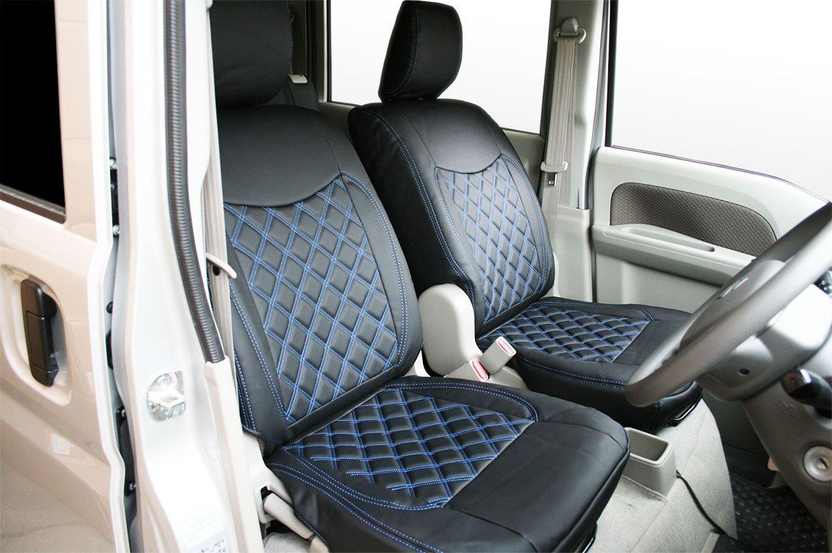 【エブリイバン DA17V】ダイヤカット/キルティング シートカバー ブルーステッチ 前席後席セット B079NVVBGP ブルー ブルー