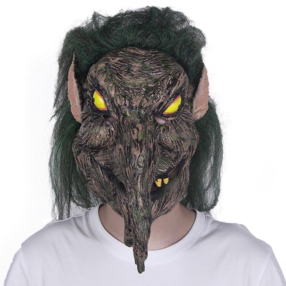 HBWJSH Maschera di Halloween Horror Smorfia Decorativa per Adulti in Lattice Copricapo Maschera di Strega verde Capelli Strega Spaventoso