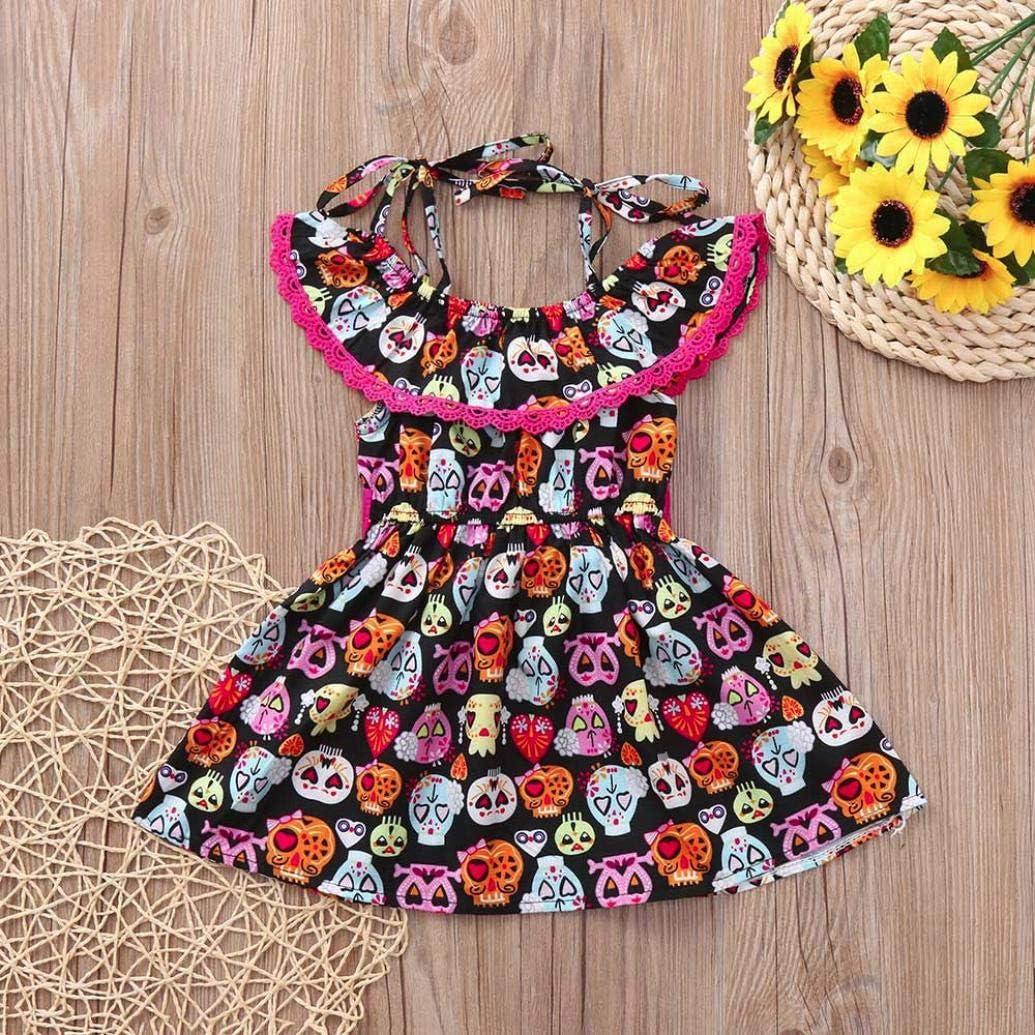 Little Baby Girls Halloween Costumes Cartoon Pumpkin Full Print Dress Off Shoulder Ruffles Collar Princess Dress
