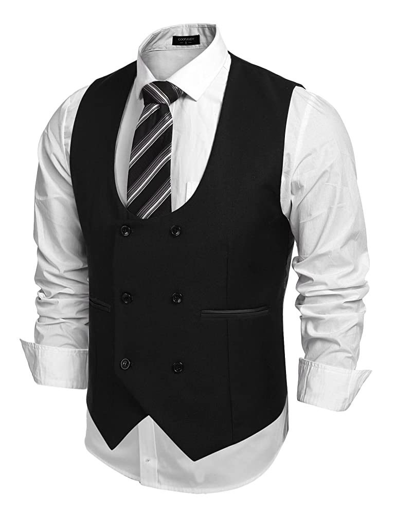 Men's Steampunk Clothing, Costumes, Fashion JINIDU Mens Formal U-neck Sleeveless Business Dress Suit Button Down Vests $32.99 AT vintagedancer.com