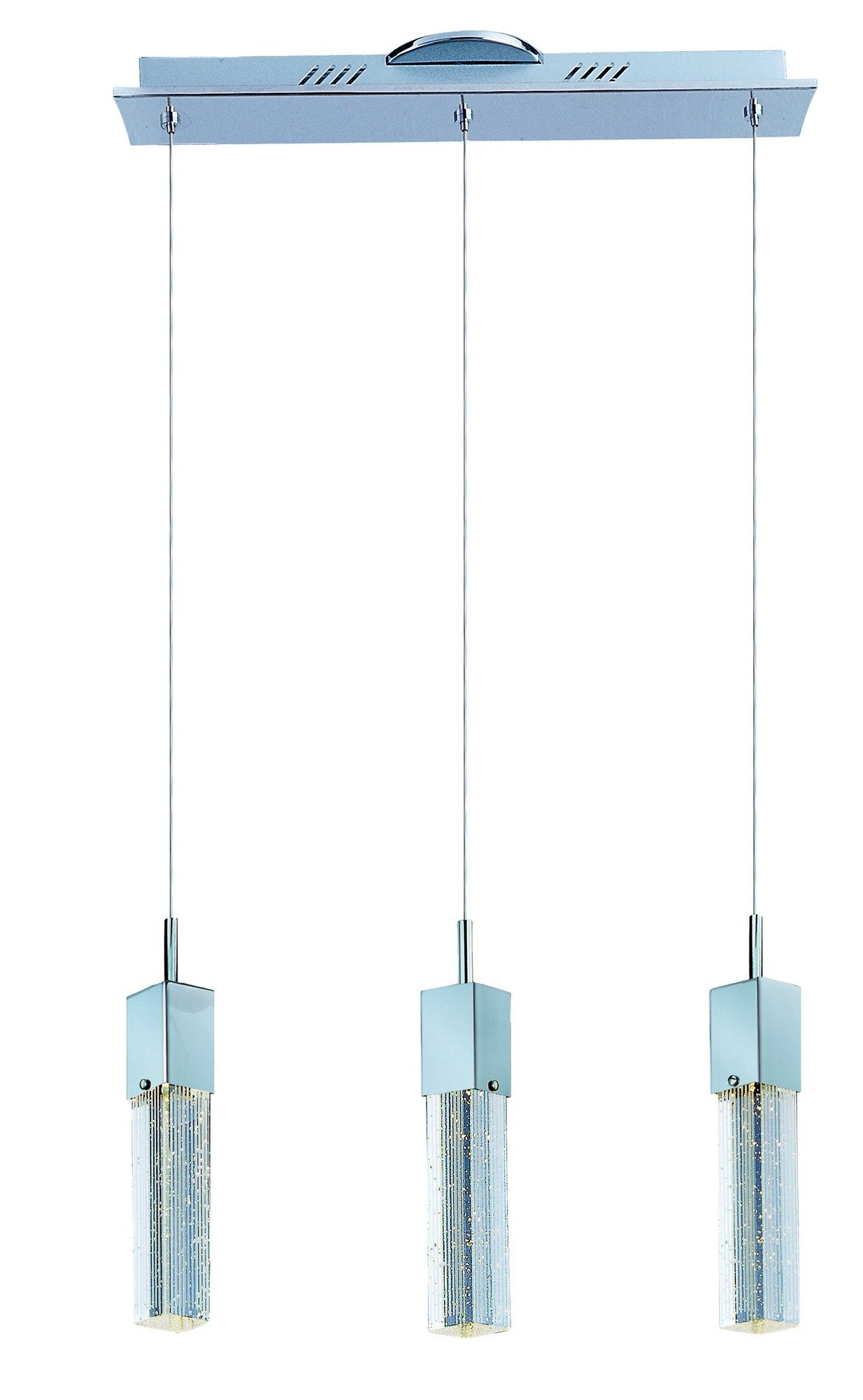 ET2 E22763-89PC Fizz III 3-Light LED Linear Pendant, Polished Chrome Finish, Etched/Bubble Glass, PCB LED Bulb, Wet Safety Rated, 3000K Color Temp., Shade Material, 1600 Rated Lumens