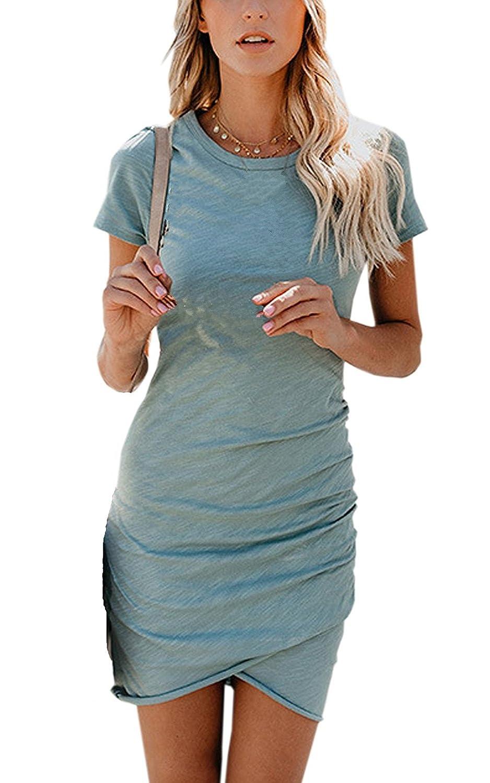 Vestido de Mujer, Lananas 2018 Mujer Verano Casual Manga Corta Irregular Dobladillo Bodycon Mini Corto Fiesta Noche Azul Vestidos Dress: Amazon.es: Ropa y ...