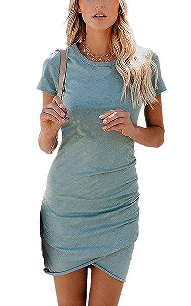 Vestido de Mujer, Lananas 2018 Mujer Verano Casual Manga Corta Irregular Dobladillo Bodycon