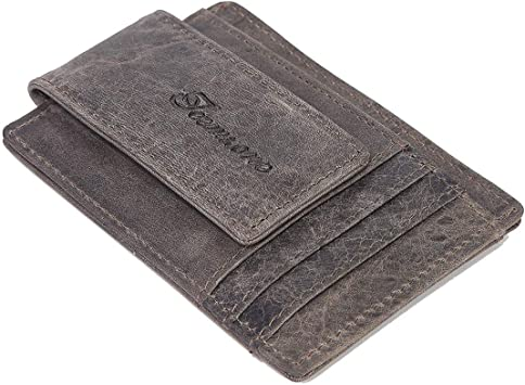 Mens RFID Real Leather Minimalist Carholder Wallet Strong Magnet Money Clip 725