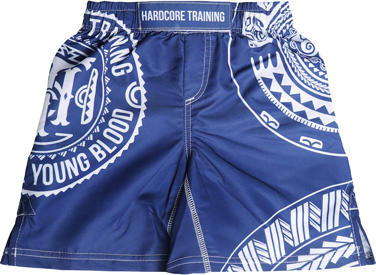 Hardcore Training Kids Boxing Shorts Ta Moko Blue Youth MMA BJJ Fitness Running Workout Exercise Sport Clothing