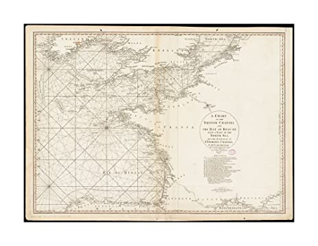 Amazon.com: 1780 Wall Map Biscay, Bay of A chart of British Channel ...