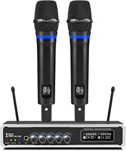 XTUGA UH300 Dual UHF Rechargeable Wireless Karaoke Microphone System 50 Channels Selectable Frequency,with Echo,Volume Control,Bluetooth,1/4 Input Jack,Perfect for Karaoke Stage Family,200FT