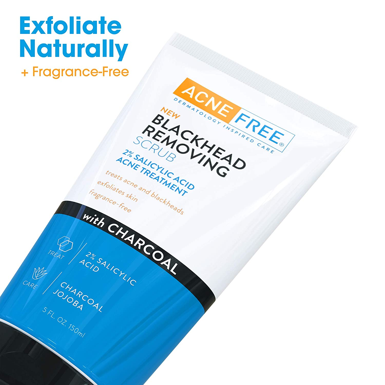 Acne Free Blackhead Removing Exfoliating Face Scrub with 2% Salicylic Acid and Charcoal Jojoba - Daily Wash, Skin Care Face Scrub Acne Treatment For Men Women and Teens With Acne Prone Skin - 5 oz: Beauty