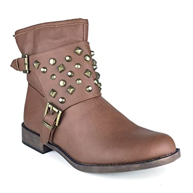 Breckelle's Apache-21 Studded Military Harness Buckle Combat Boots Booties