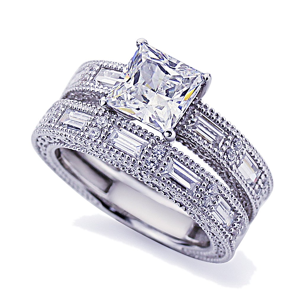 Platinum Plated Sterling Silver 1.5 cttw Center Princess CZ Vintage Style Ring Set ( Size 5 to 9 ), 7