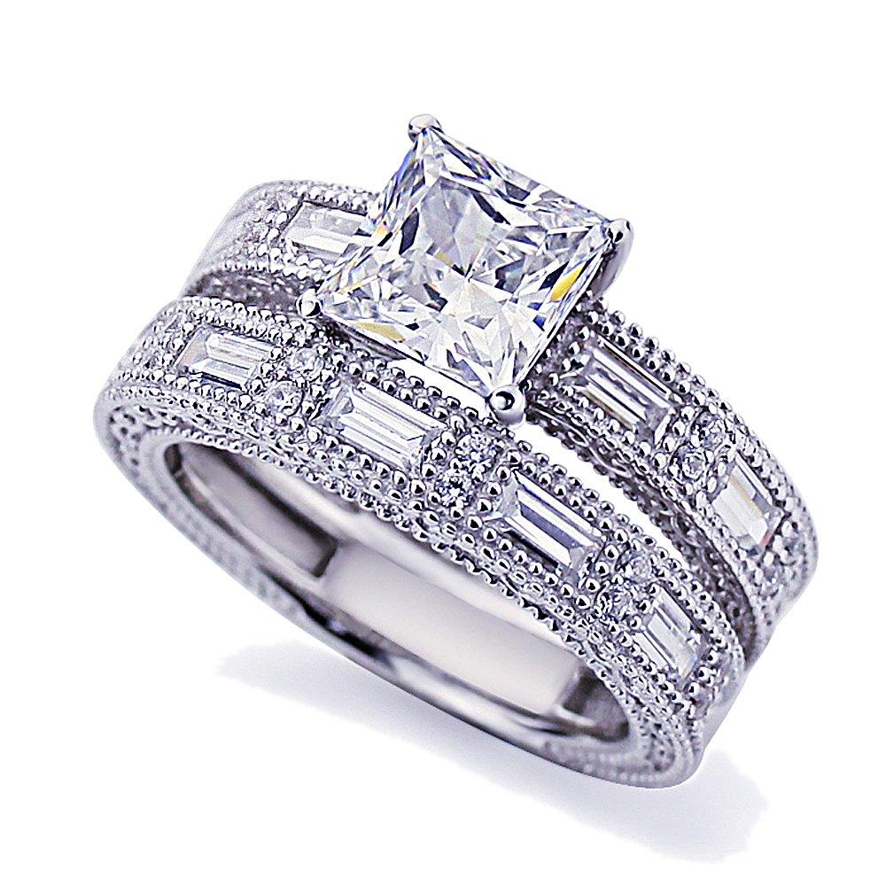 Platinum Plated Sterling Silver 1.5ct Princess CZ Vintage Engagement Ring Bridal Set ( Size 5 to 9 ), 7