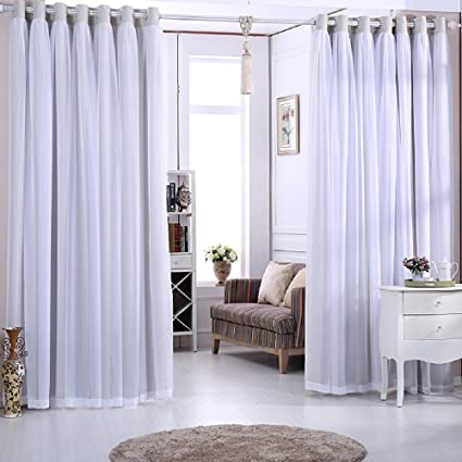 amazon com tiyana 2 panels double curtains for living room 59 inchtiyana 2 panels double curtains for living room 59 inch width solid color gray cloth and