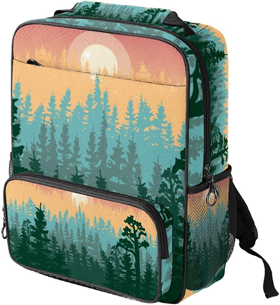 Summer Mountains Landscape With Pine Forest And Hills School Backpack Laptop Backpacks Casual Bookbags Daypack for Kids Girls Boys and Women