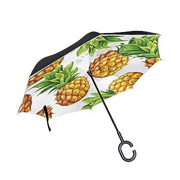MAILIM - Paraguas Reversible de piña para Frutas, Plegable, invertido, Resistente al Viento